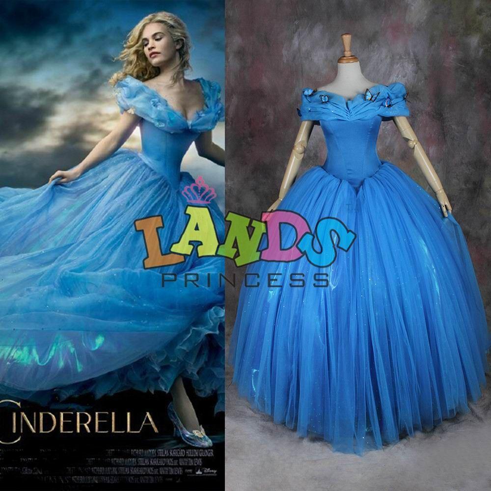 Cinderella Costume Dress Ballgown 2015 Movie Latest Design Custom Made Princess