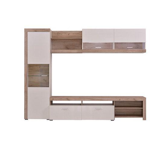 mur tv fiona blanc et bois gris meuble tele pinterest meuble t l et meubles. Black Bedroom Furniture Sets. Home Design Ideas