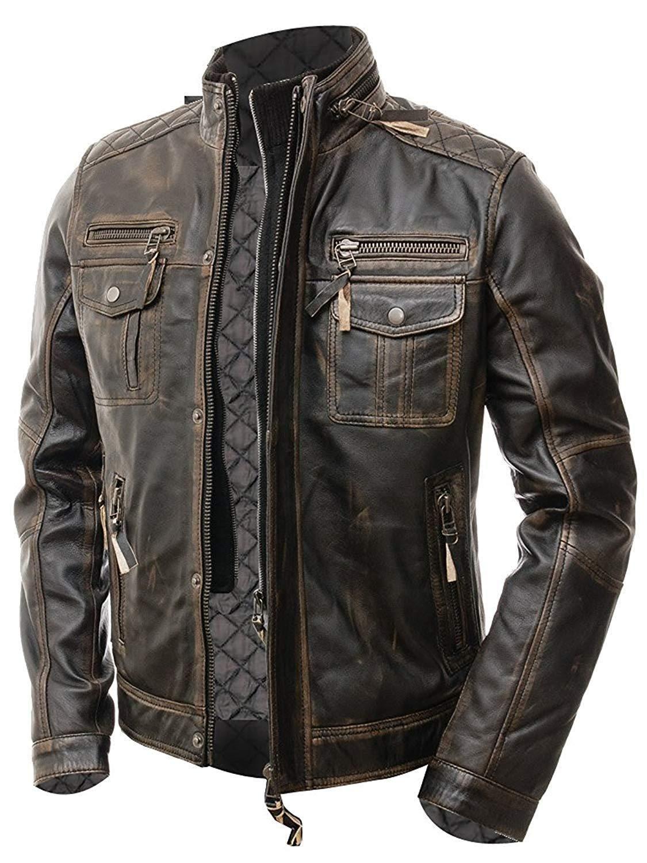 Men Motorcycle Biker Vintage Distressed Brown Cafe Racer Real Leather Jacket In 2020 Brown Leather Jacket Men Cafe Racer Leather Jacket Leather Jacket Men