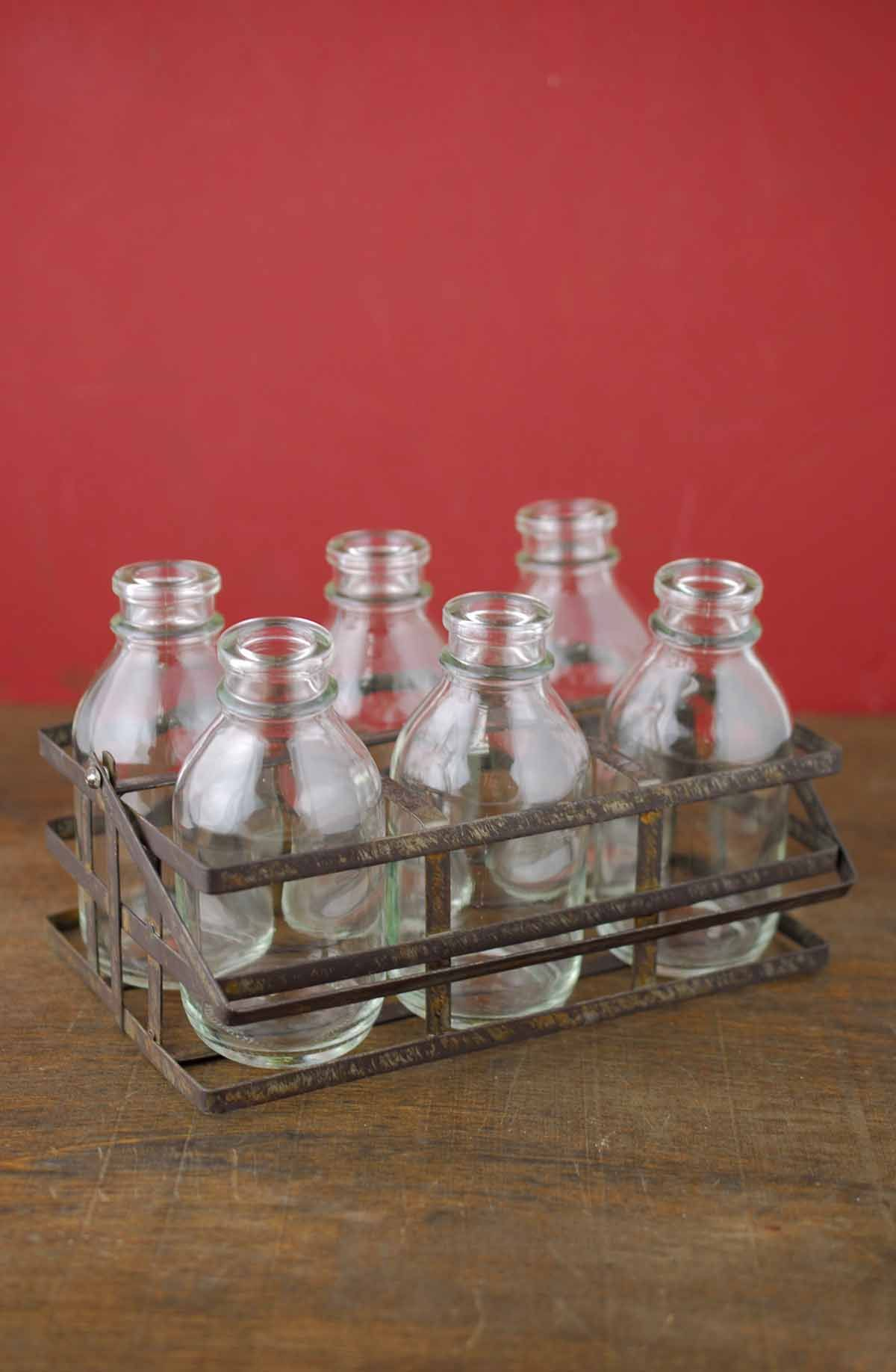 Bottle Basket Caddy With 6 Glass Bottles 4x7 Bottle Caddy Glass Bottles Bottles And Jars