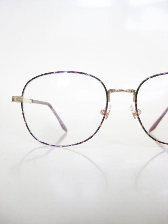 7a09ac6bb2e0 Vintage Deadstock Wire Rim Glasses Eyeglasses 1980s Nerdy Geek Chic Indie  Hipster Womens Ladies Girl New NOS Old Stock Brass Purple Emerald