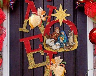 Photo of NATIVITY Scene – Nativity Tree Wooden Door Hanger by G.DeBrekht 8128833H