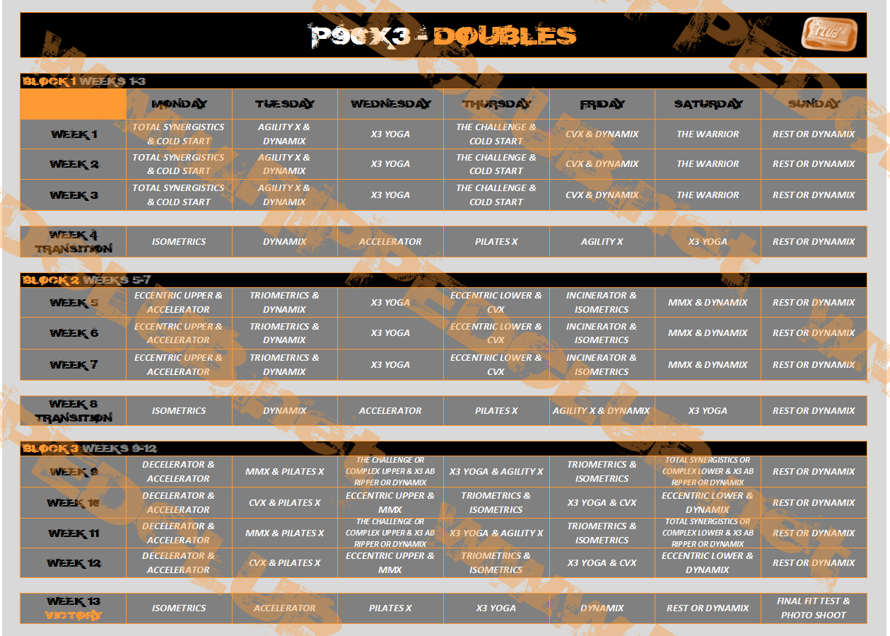 P90x3 Workout Schedule Complimentary Calendars For