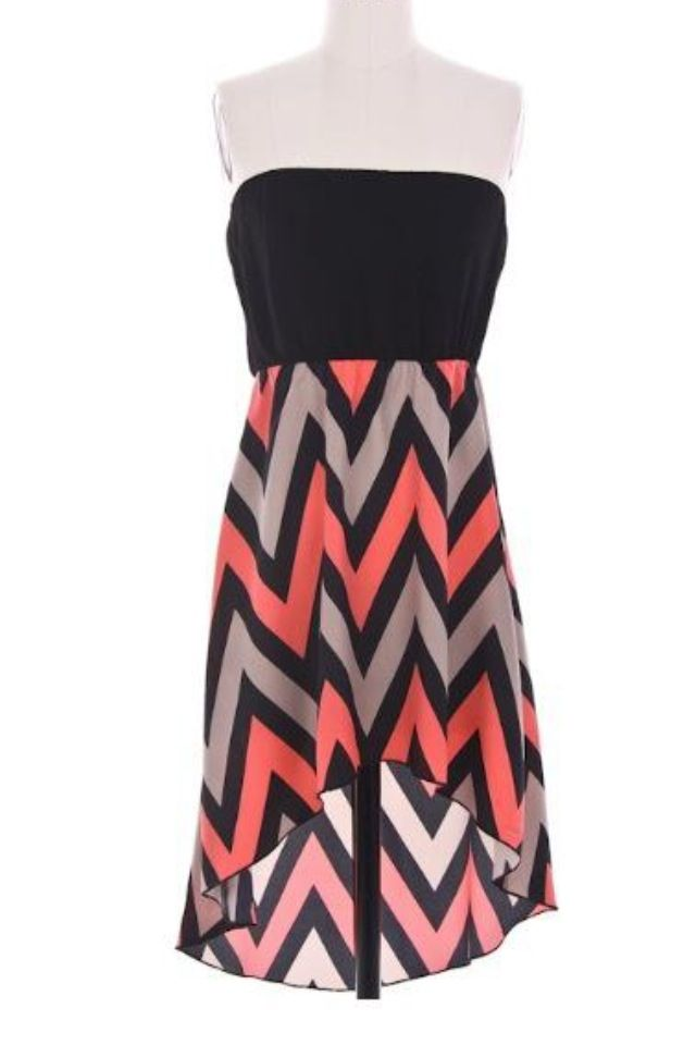 Chevron High/Low Dress (Coral, Taupe & Black) | Twisted K Couture ...