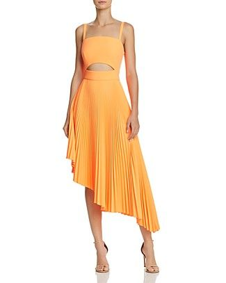 MILLY Pleated Eliza Cutout Dress | Bloomingdale's