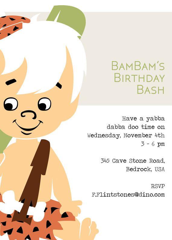 Bambam Birthday Bash Invite Flintstones Customizable