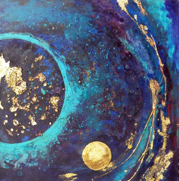 """Large Abstract Painting on canvas - Mixed media with Gold and Copper Leaf - Full of textures - Wall Art - """"The Earth"""" - Free shipping"""