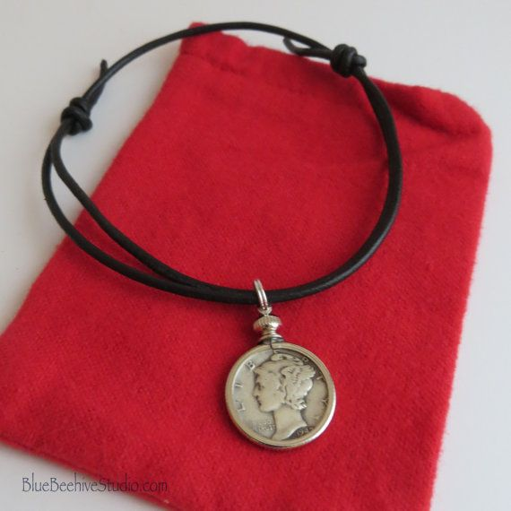 ABX06-03:  Mercury Dime Anklet good luck anklet adjustable anklet red leather cord mercury dime jewelry silver chain extender