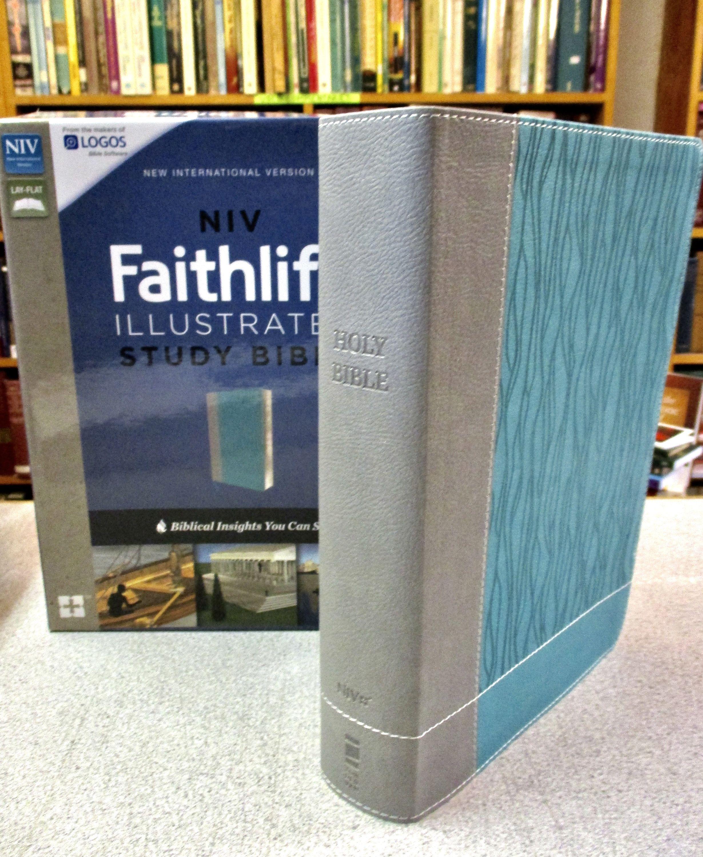 PERSONALIZED NIV FAITHLIFE Study Bible Gray Blue Non