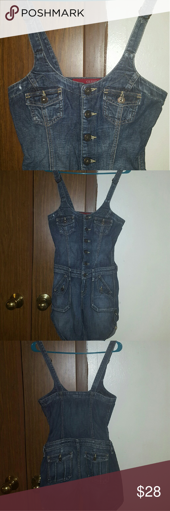 Like New Adorable Guess Jean Jumpsuit Xs Adorable Guess Jean Jumpsuit Size Xs. Has 2 pokets on butt 2 by waist and 2 mini pokets on top. All pockets are real! You  can leave down or cinch up with button by thigh like shown in picture.  Looks Amazing on! Worn twice! Excellent Condition!   Be sure to check out my other items that are up for sale. You wont be disappointed! Guess Pants Jumpsuits & Rompers