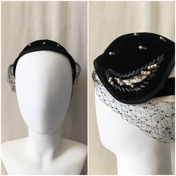 1930s Beaded Fastener Hat // 30s Black Wool Skull Cap // Netting, Glass and Pearl Beads // Netted Beaded Hat W/ Two Pearl Hat Pins