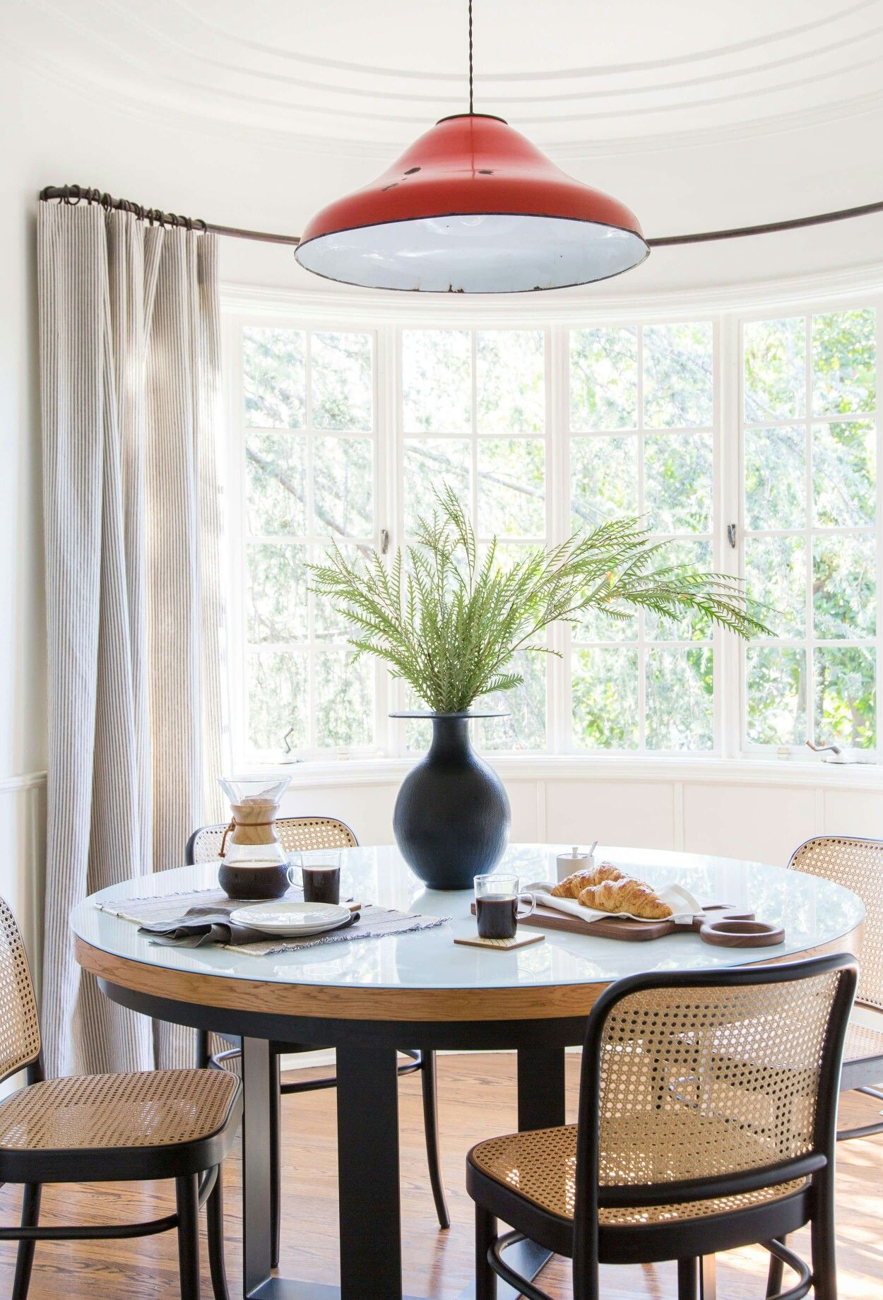 In The Kitchen Nook A Custom Table Is Surrounded By Josef Hoffmann Chairs Vintage Light Hangs Above