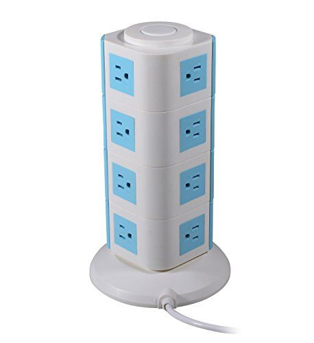Safe Smart Power Strip Tower 15outlet With 2usb 9ft Cord Isolated Swich Blue To View Further For This Item V Gadget World Locker Storage Electronic Products