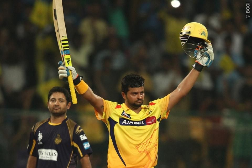 Suresh Raina of the Chennai Super Kings celebrates