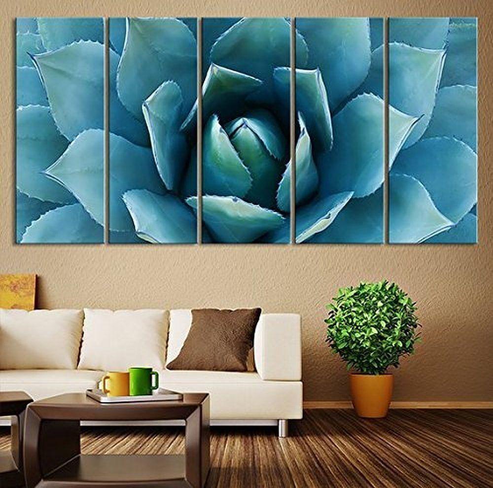 Amazon Com Ezon Ch Large Wall Art Blue Agave Canvas Prints Agave Flower Large Art Canvas Printing Extra Large Art Prints Diy Large Wall Art Large Wall Prints