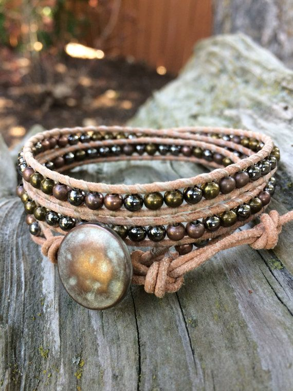 Beaded Leather Wrap Bracelet. Assorted by SilveryBeachDesigns