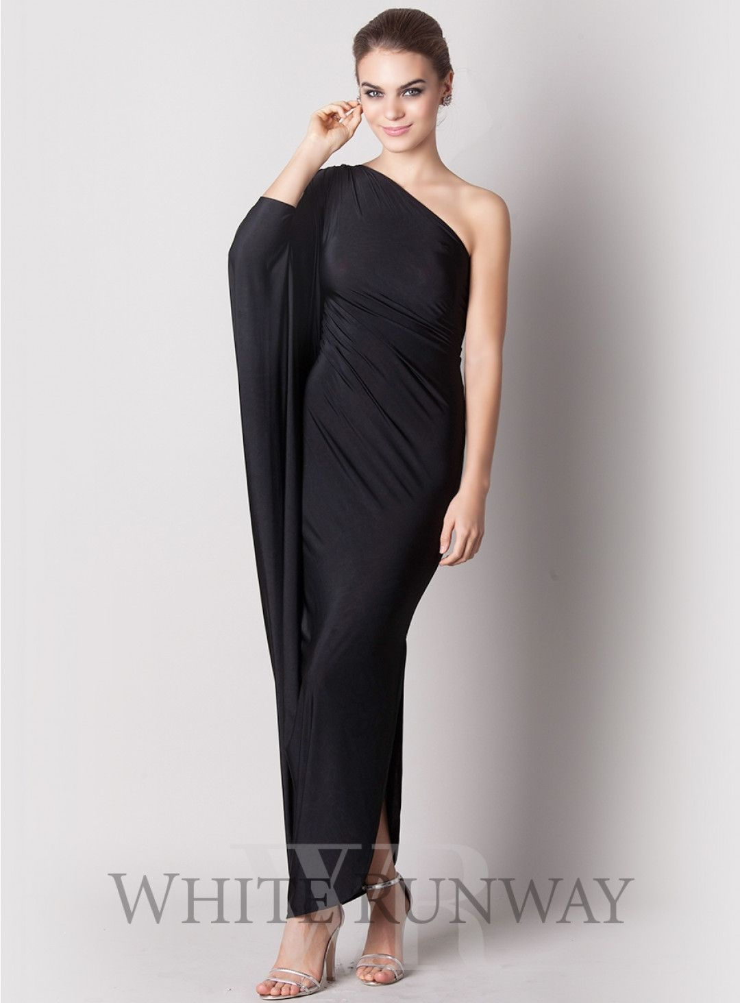 Serena Dress. This one shouldered slinky number features a slit sleeve and is a sexy take on the little black dress.
