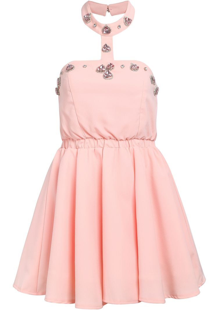 Pink Halter Strapless Bead Flare Dress 33.33