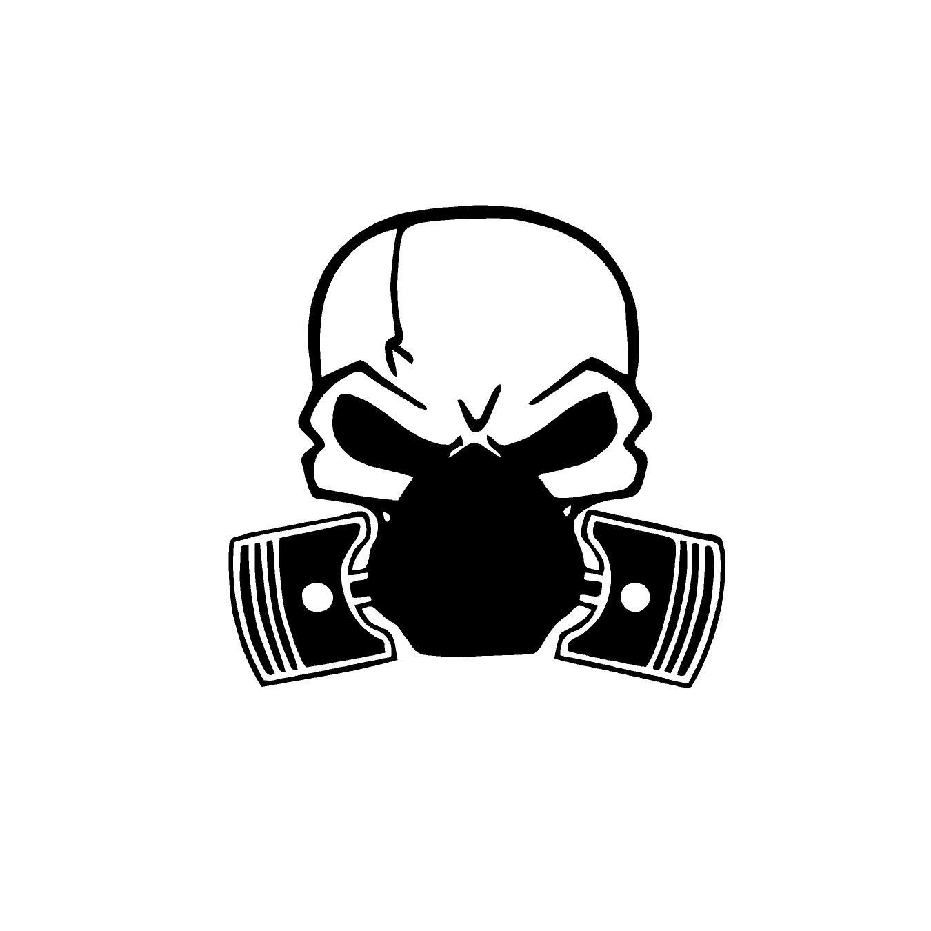 Skull Piston Gas Mask Decal Custom Vinyl Car Truck Window Sticker Skull Decal Truck Window Stickers Custom Vinyl Decal [ 1350 x 1350 Pixel ]