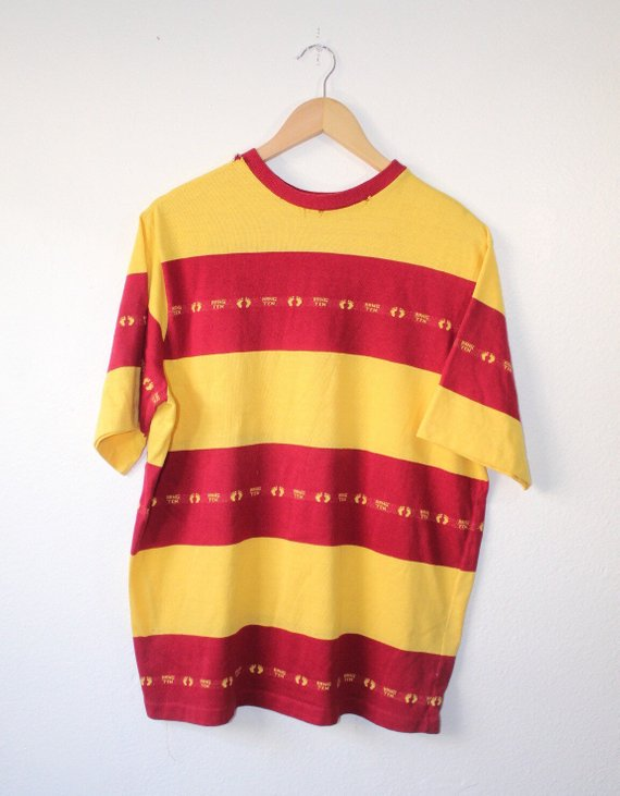 61e3bc4da6a4bd Vintage 70s 80s Hang Ten Surf Skate Striped All Over Print Shirt Tagged XL  Fits Mens Large Red Yello