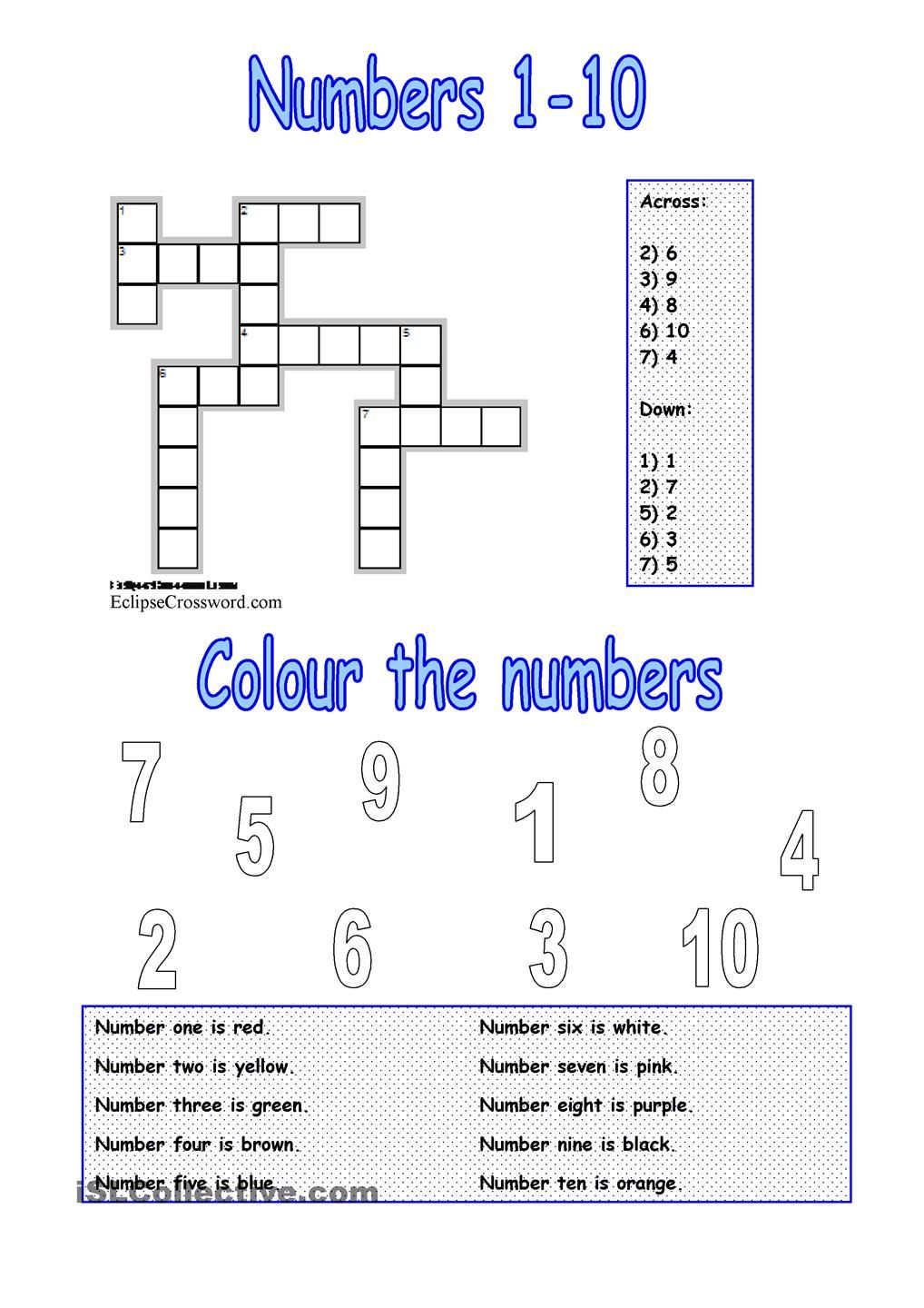 numbers 1-10 | Crosswords | Pinterest