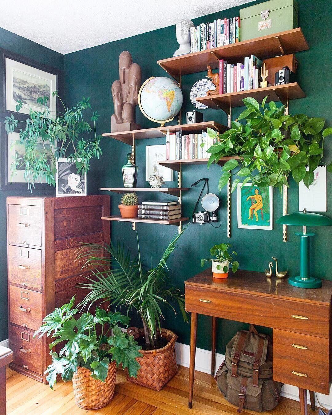 Apartment Therapy On Instagram One Wild Office Shelfie Image Imjessicabrigham Homedecorretro Small Room Design Living Room Green Apartment Interior
