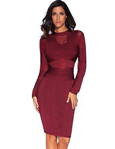 Meilun Women's High Neck Long Sleeves Mesh and Bandage Elegant Dress Red M  | Elegant dresses, Long sleeve bandage dress and Calvin klein dress