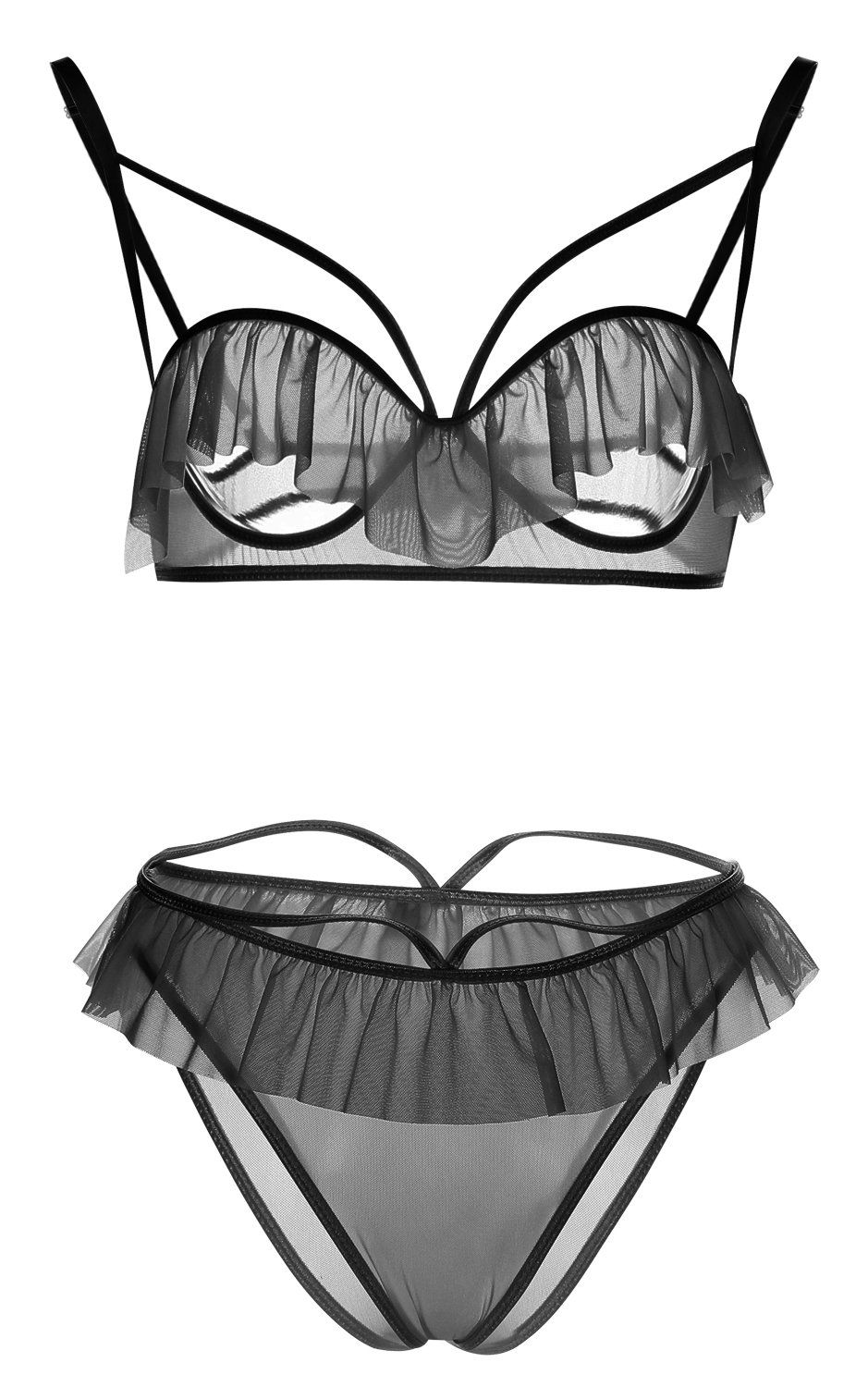 3c602ffca0717 Blidece Women 2 Piece Open Cup Cupless Sexy Lingerie Nightwear Babydoll and  Thong Set Black L. Sexy Babydoll Transparent Open Bra set Plus Size ...