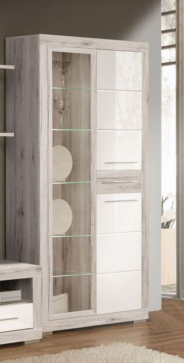 vitrine annabelle inklusive led beleuchtung in den trendfarben sandeiche und weiss hochglanz 1. Black Bedroom Furniture Sets. Home Design Ideas