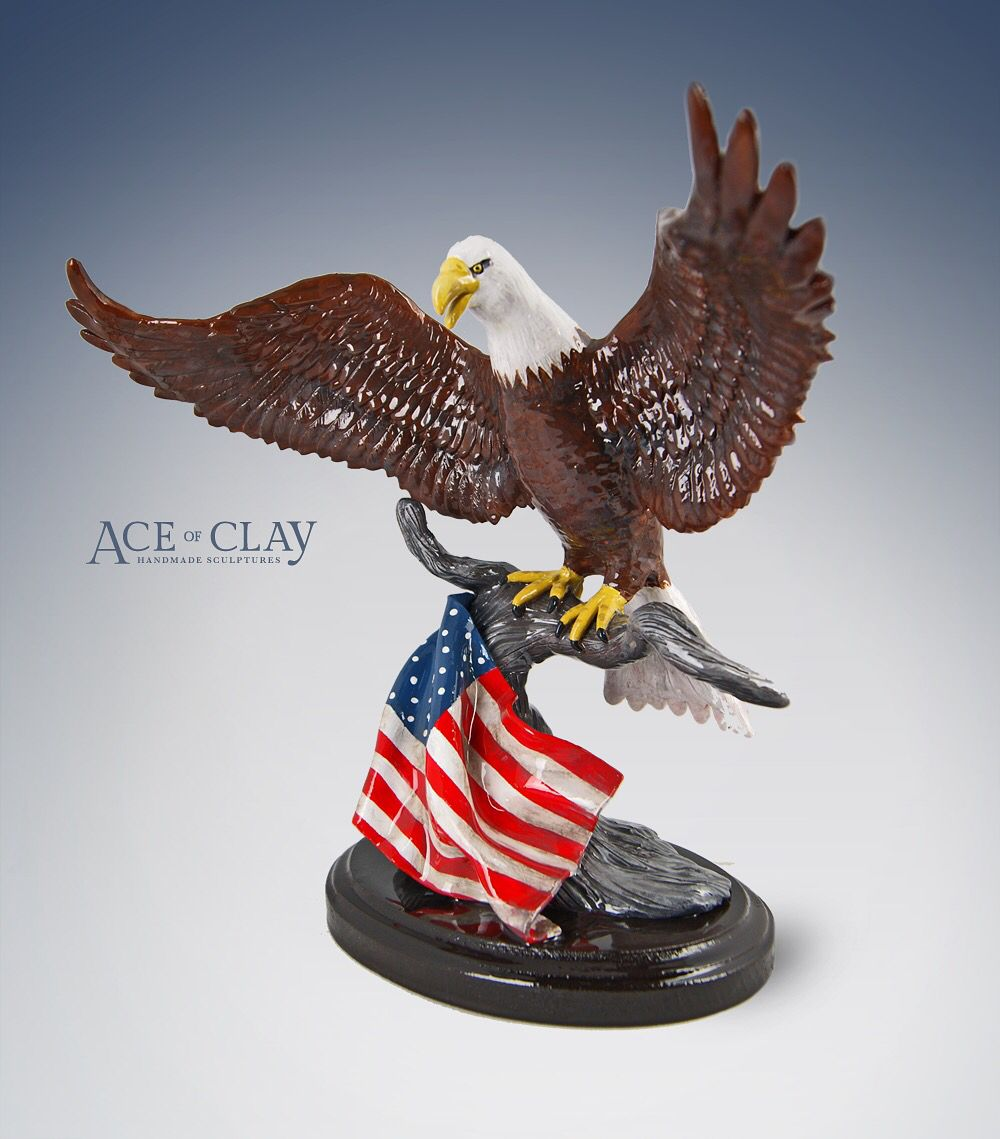 polymer clay shark sculpture by ace of clay aceofclay com custom order american bald eagle sculpture
