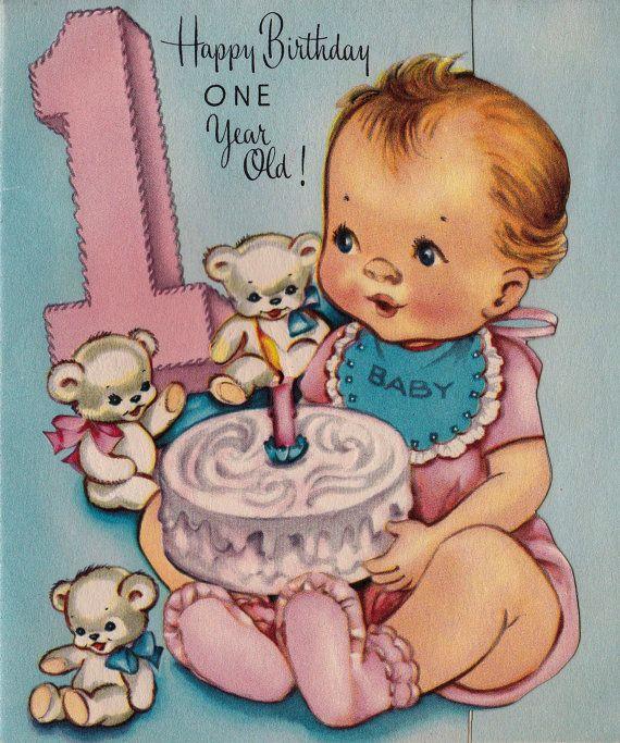 Vintage 1950s Fairfield Happy Birthday 1 Year Old Greetings Card