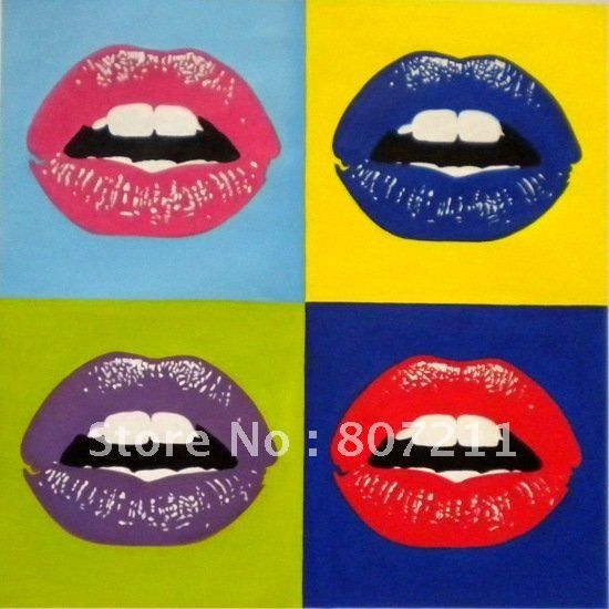 Andy Warhol-Kiss goodbye Lips Pop Art handpainted Oil Painting on ...