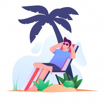 Sunbathing Men On The Beach Flat Illustration Desain Flat Gambar Desain
