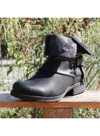 [€ 36.16] Femmes Similicuir Talon bas Bottes mi-mollets avec Rivet Boucle Zip chaussures  - VeryVoga 2