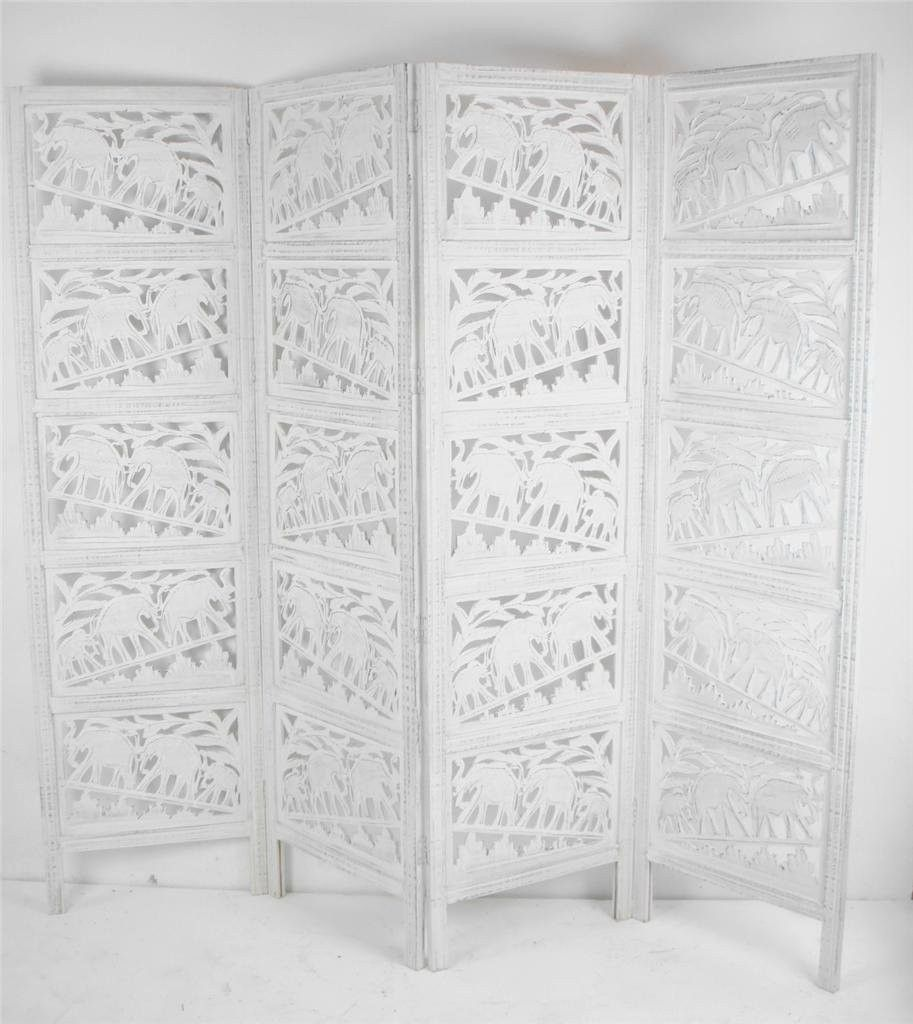 hand carved indian elephant room divider screen white wooden