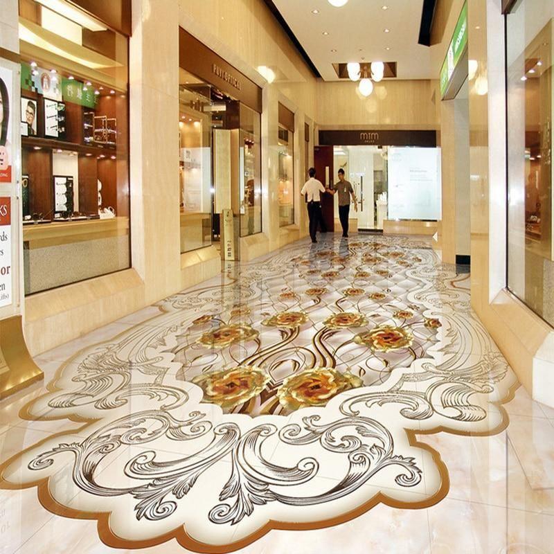 European Style Gold Rose Reliefs Marble Murals Wallpaper