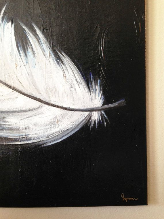 Large acrylic painting on canvas feathers 36x36 von for Painting feathers on canvas