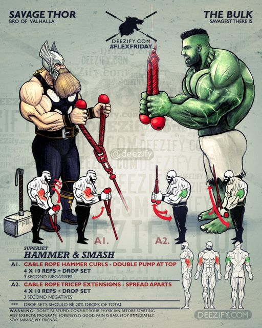 arm superset thor hammer curls hulk tricep extensions healthy