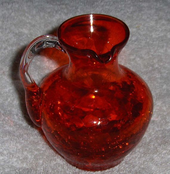 Vintage Ruby Red Crackle Glass Pitcher Decorative Collectible Art