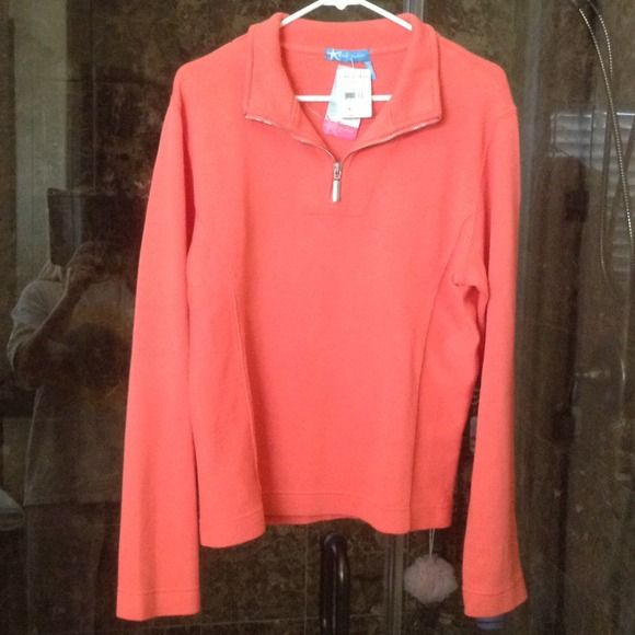 Fresh Produce Long Sleeve Zip-Up Cantaloupe color, NWT, warm, zip-up top. Women's 4-6 Fresh Produce Tops