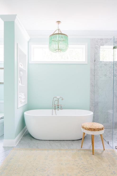 Green Spa Like Bathroom Design Contemporary Bathroom Sherwin Williams Dewy Green Bathroom Home Interior Design Bathroom Interior Design