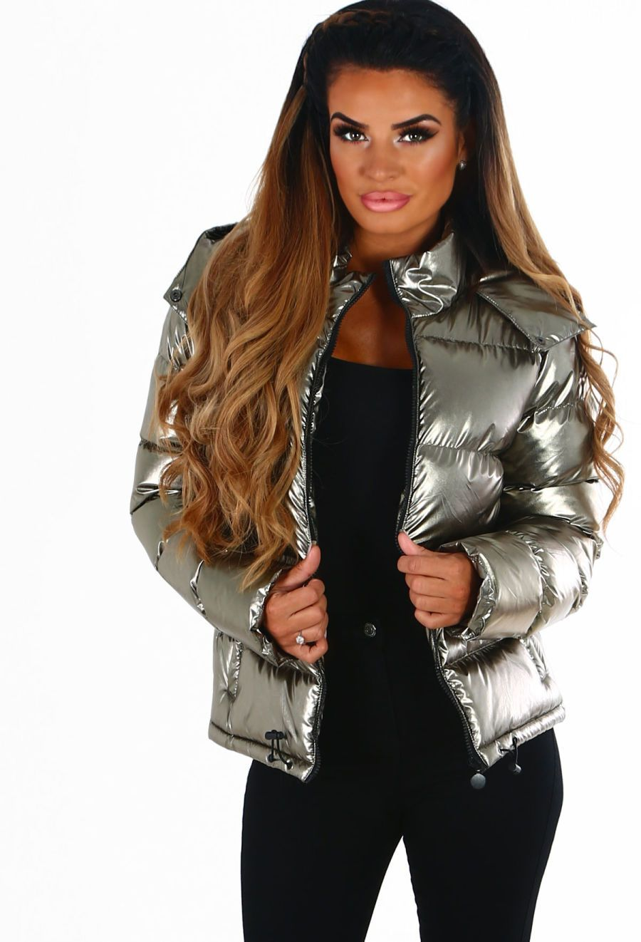 Dazzling Diva Gold Metallic Hooded Puffer Jacket Jackets Coats For Women Puffer Jackets [ 1322 x 900 Pixel ]