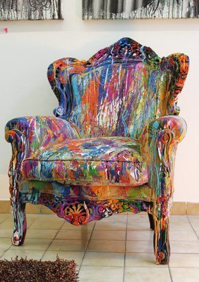 Fauteuil Intime (Peinture) Par Annu0027SoCo Acrylique Et Glycéro Sur Fauteuil  Bois Et Lin | Graffiti Decor | Pinterest | Paint Upholstery, Color  Inspiration And ...