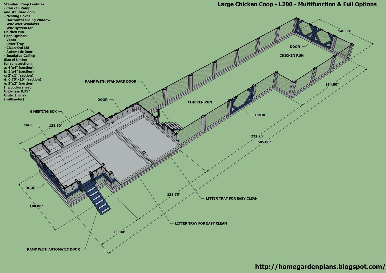 Home Garden Plans L200 Large Chicken Coop Plans How To Build A Chicken Coop Multifunction Large Chicken Coop Plans Chicken Coop Building A Chicken Coop Backyard free range chicken house design