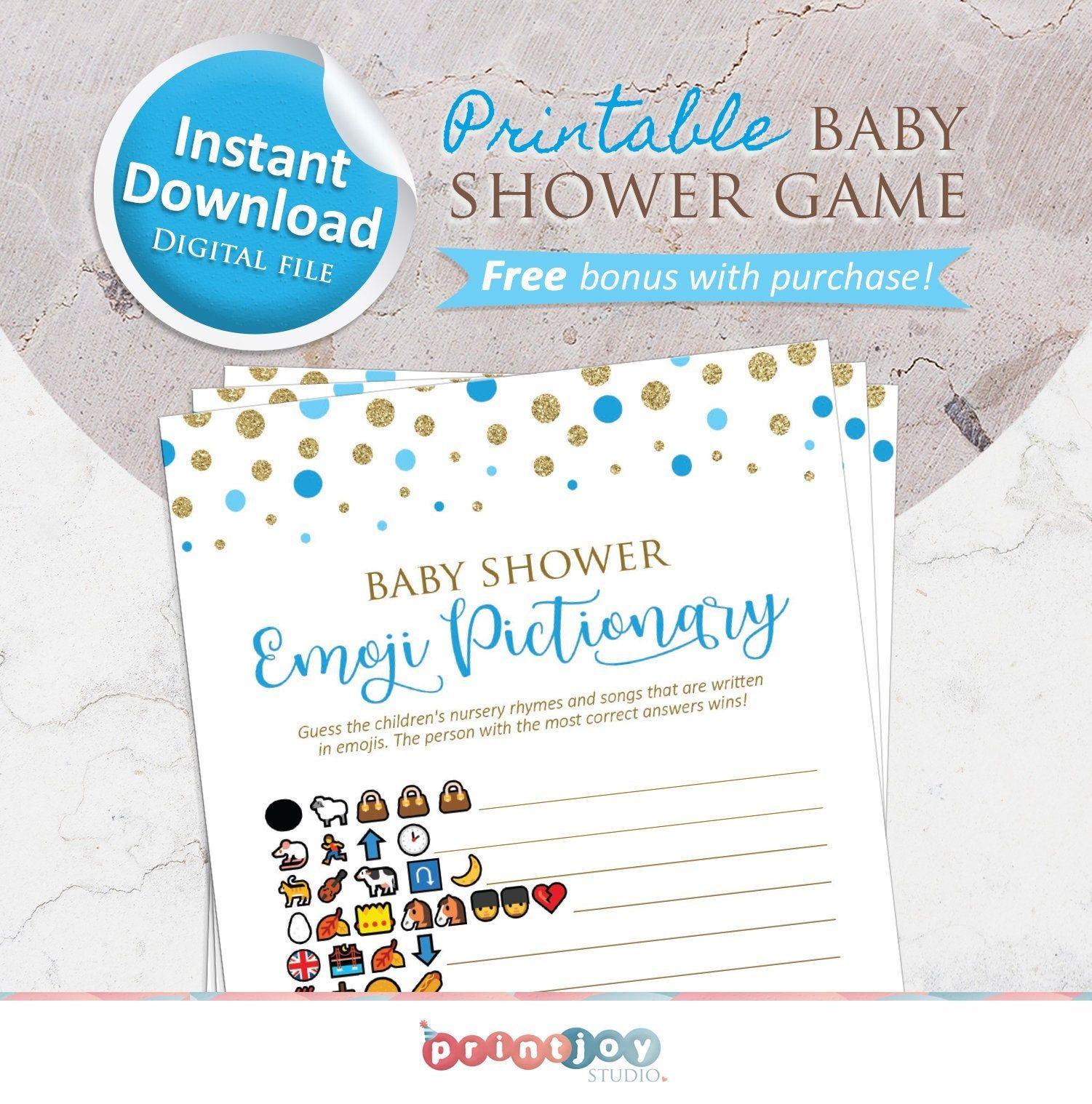 Emoji Baby Shower Games | Emoji Pictionary Game | Instant Download