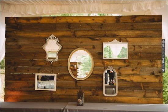 reclaimed wood with vintage style mirrors from Charlotte vintage rentals  @thedarlingbee | VIA #WEDDINGPINS - Reclaimed Wood With Vintage Style Mirrors From Charlotte Vintage