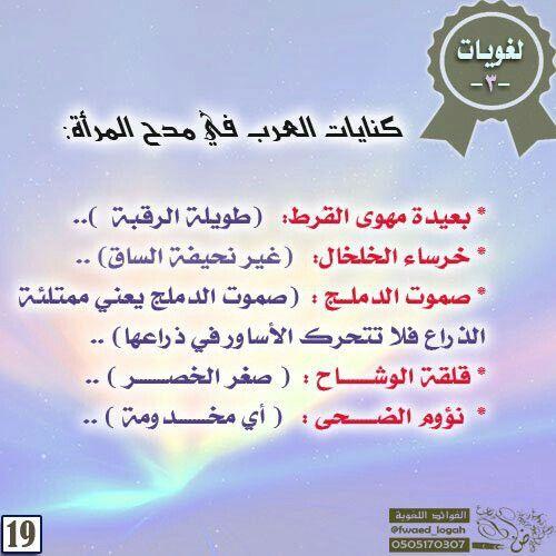 كنايات العرب في مدح المرأة Arabic Langauge Learning Arabic Language
