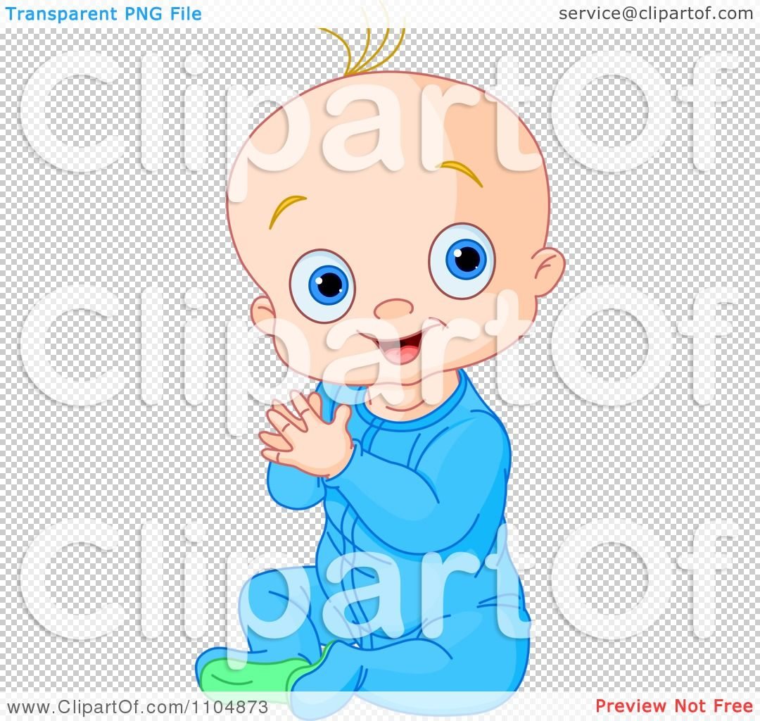 clipart happy baby boy clapping his hands and sitting in blue sleeper pajamas royalty free vector illustration by pushkin [ 1080 x 1024 Pixel ]
