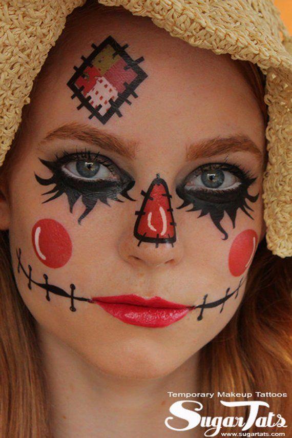 Easy Scarecrow Face Paint : scarecrow, paint, Scarecrow, Tattoos, SugarTats, Temporary, Makeup, Halloween, Makeup,