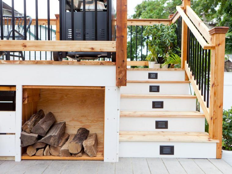 Outdoor Fire Wood Storage Under Stair And Back Yard Patio Deck With Firewood Nyc Also Iron Wood Rack Small Yard Design Outdoor Space Design Yard Design